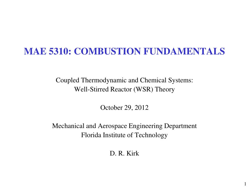 mae 5310 combustion fundamentals l.