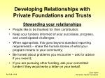 developing relationships with private foundations and trusts12