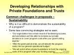 developing relationships with private foundations and trusts9