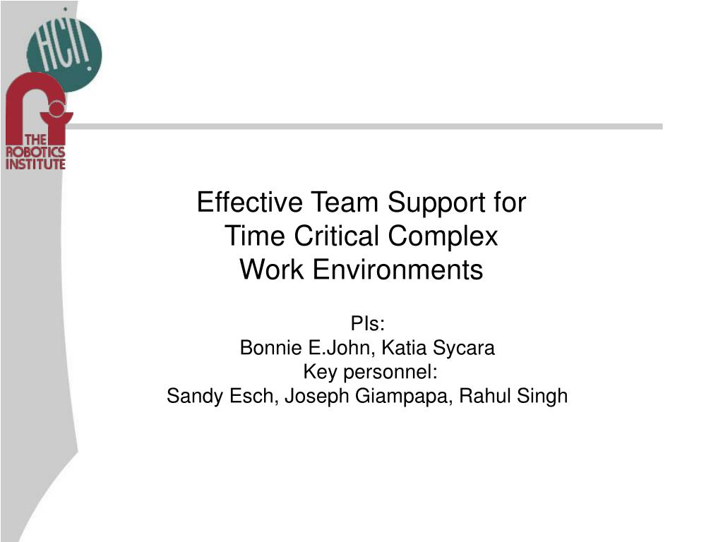 effective team support for time critical complex work environments l.
