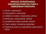 proces istra ivanja organizacione kulture u hibridnom pristupu