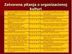 zatvorena pitanja o organizacionoj kulturi