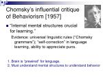 chomsky s influential critique of behaviorism 1957