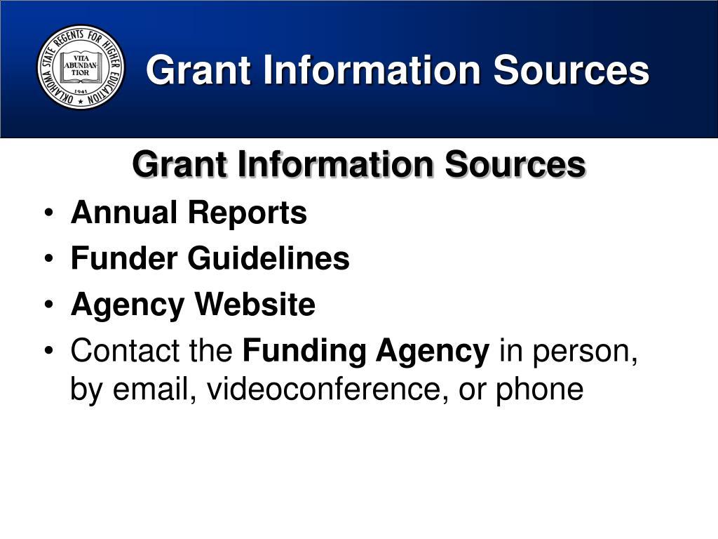 Grant Information Sources