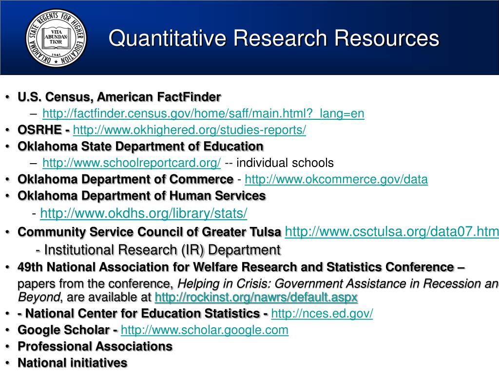 Quantitative Research Resources