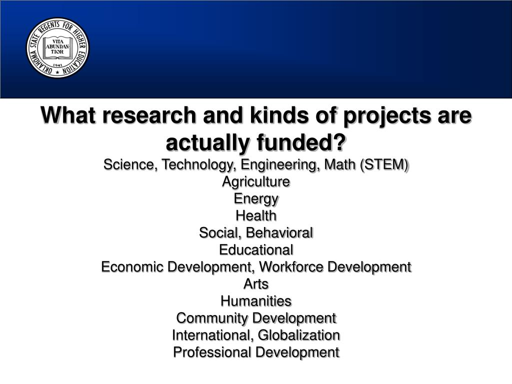 What research and kinds of projects are actually funded?