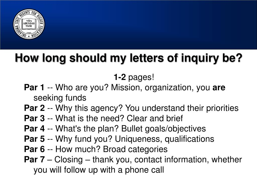 How long should my letters of inquiry be?