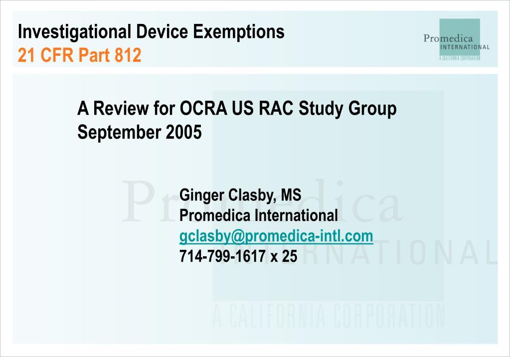 investigational device exemptions 21 cfr part 812 l.