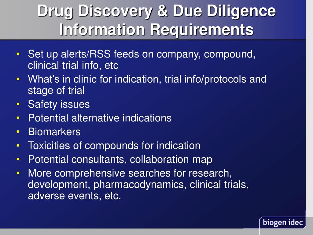Drug Discovery & Due Diligence Information Requirements