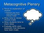 metacognitive plenary