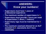 answers know your numbers