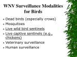 wnv surveillance modalities for birds