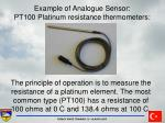 example of analogue sensor pt100 platinum resistance thermometers