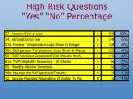 high risk questions yes no percentage