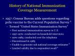 history of national immunization coverage measurement