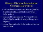 history of national immunization coverage measurement27
