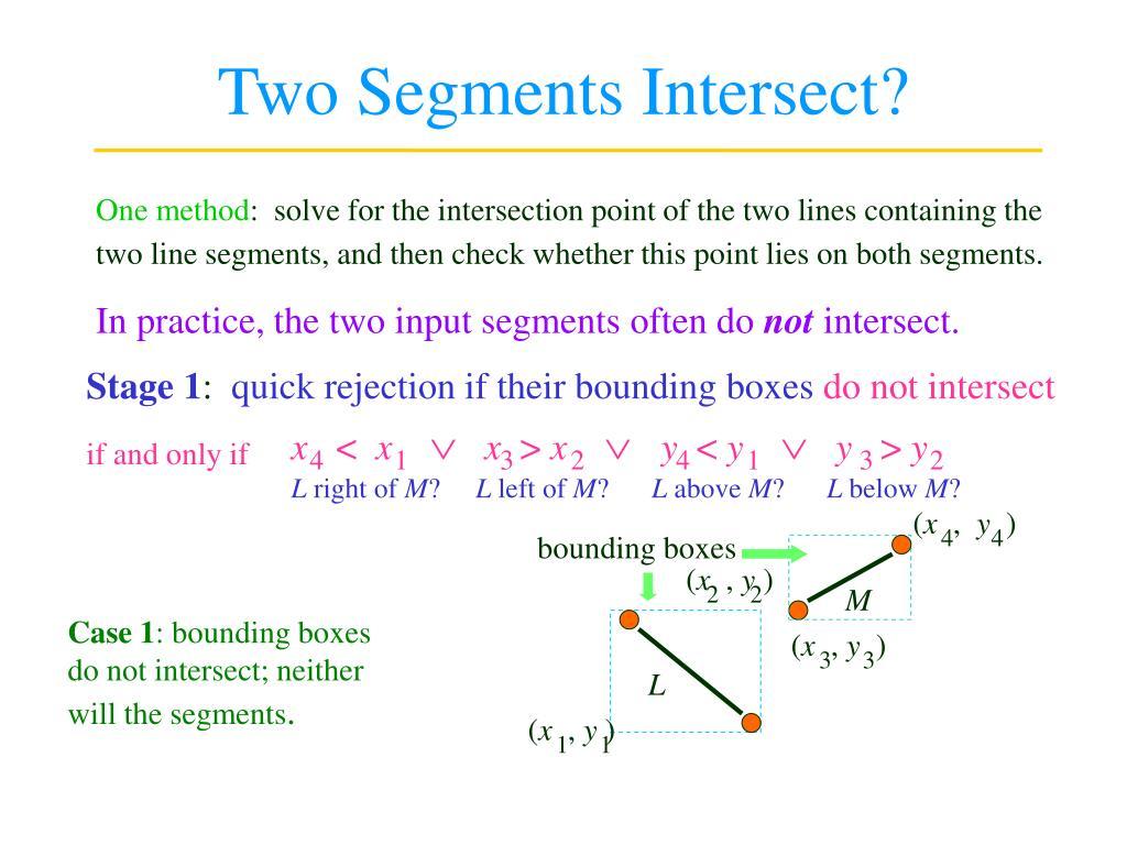 two segments intersect l.
