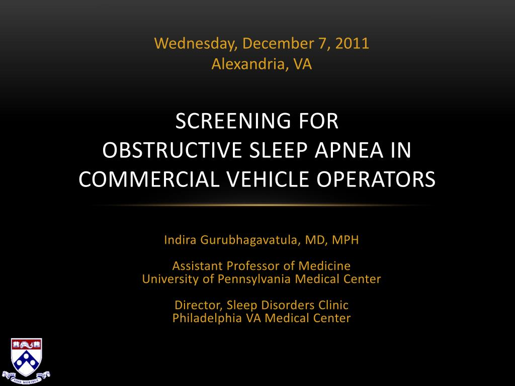 screening for obstructive sleep apnea in commercial vehicle operators l.