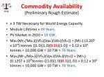 commodity availability preliminary rough estimate