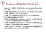 resources depletion predictions