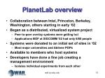 planetlab overview