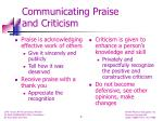 communicating praise and criticism
