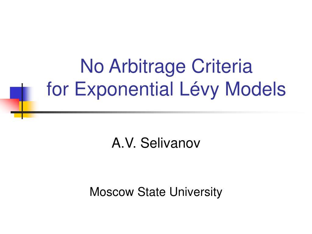 no arbitrage criteria for exponential l vy models l.
