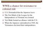 wwii a chance for resistance to colonial rule
