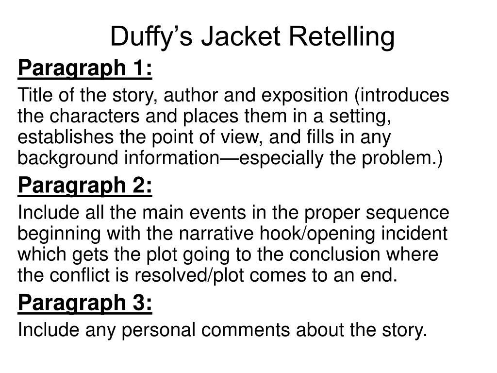 duffy s jacket retelling l.