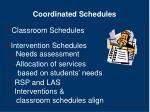coordinated schedules