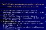 oral 5 asa for maintaining remission in ulcerative colitis sutherland l et al cochrane review 1998