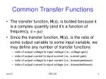 common transfer functions