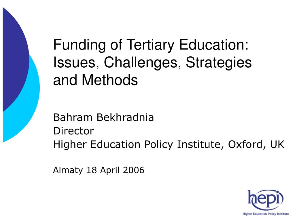 funding of tertiary education issues challenges strategies and methods l.