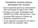 competitive trucking industry developed from scratch