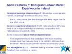 some features of immigrant labour market experience in ireland