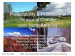 predictability prediction of seasonal climate over north america