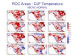 roc areas djf temperature above normal
