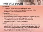 three levels of award