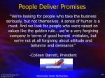 people deliver promises