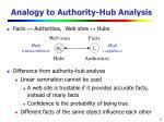 analogy to authority hub analysis