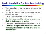 basic heuristics for problem solving
