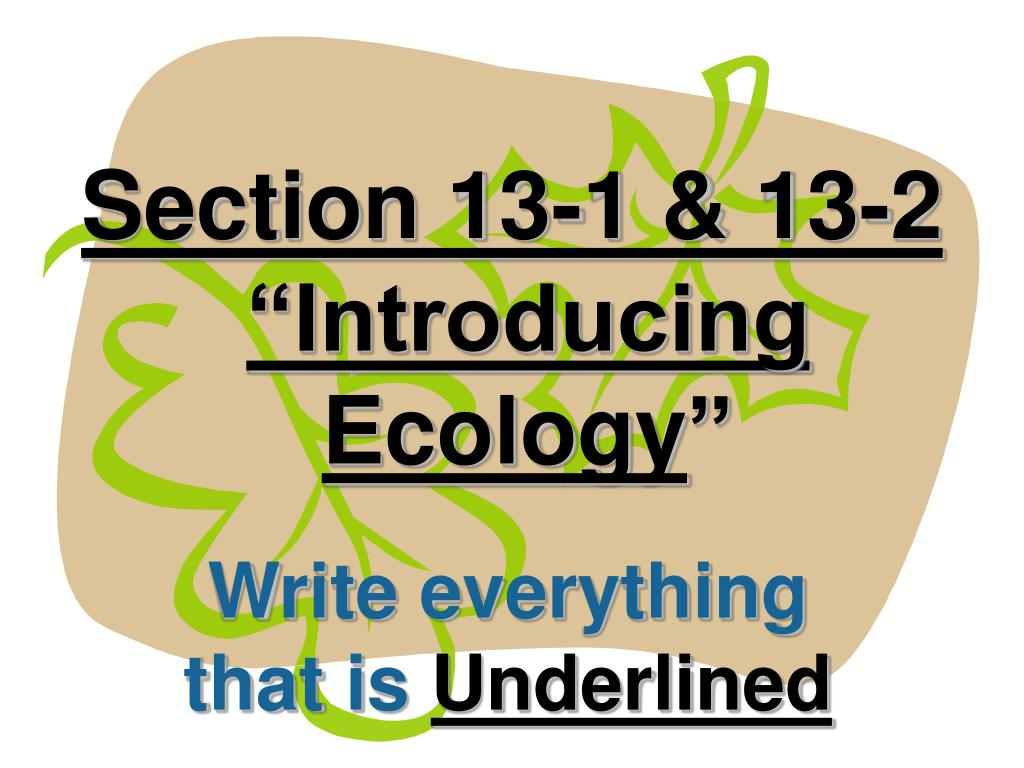 section 13 1 13 2 introducing ecology l.