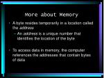 more about memory