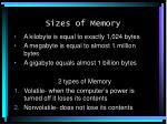 sizes of memory