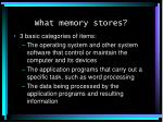 what memory stores