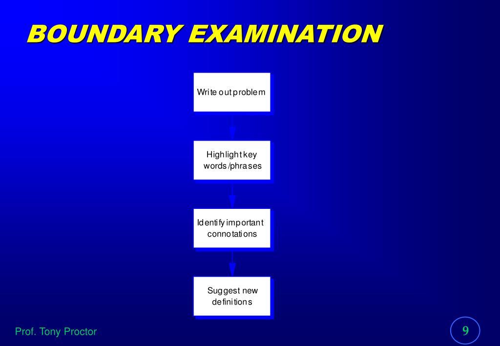 BOUNDARY EXAMINATION
