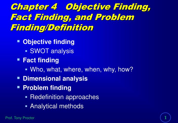 Chapter 4 objective finding fact finding and problem finding definition