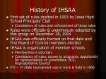 history of ihsaa