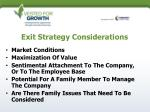 exit strategy considerations