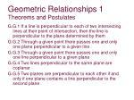 geometric relationships 1 theorems and postulates